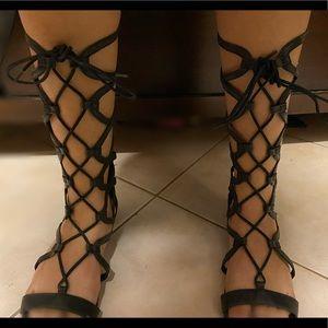 Black Report Tall Gladiator Sandals